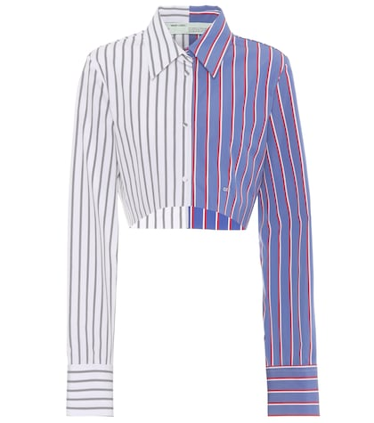 Cropped striped cotton shirt