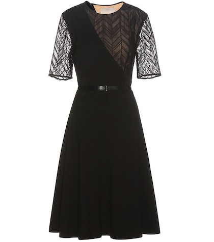 Lace-trimmed Crêpe Dress