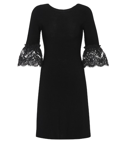 Lace-trimmed wool dress