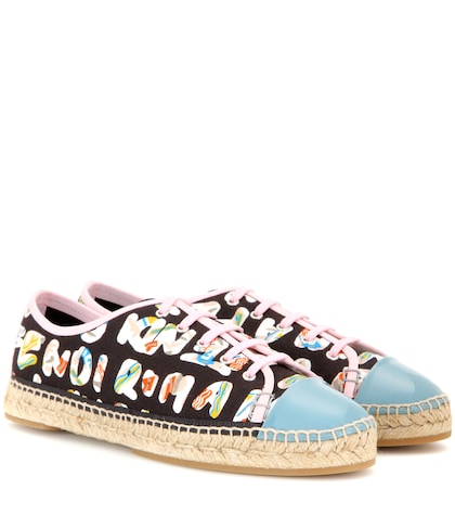 fendi female printed leathertrimmed sneakers