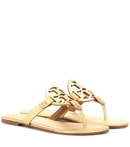 tory burch female miller metallic leather sandals
