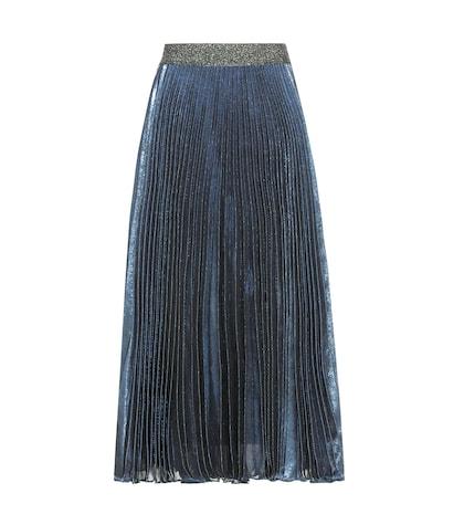 Pleated silk-blend skirt