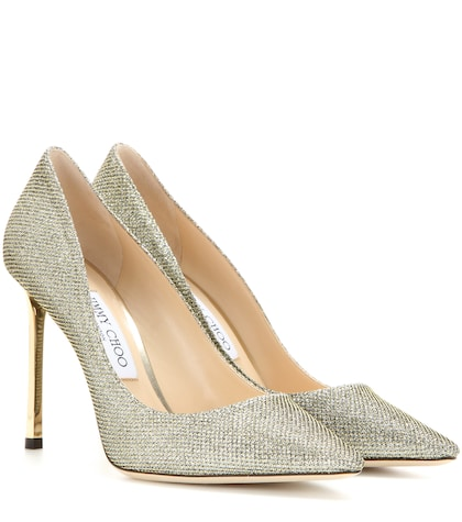 jimmy choo female romy 100 metallic pumps
