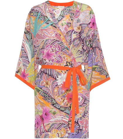 Printed silk wrap dress