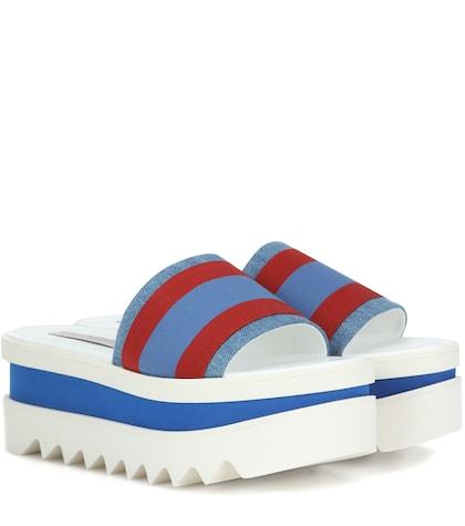 Slip-on striped platform sandals