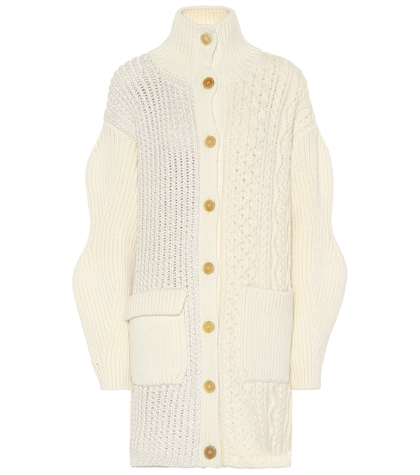Cable-knit wool-blend cardigan