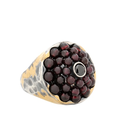 Sterling silver and 24kt gold ring with cubic zirconia and garnet