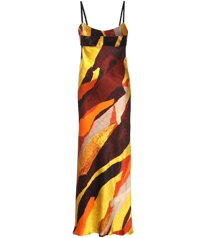 Elina Printed Satin And Velvet Open-back Slip Dress