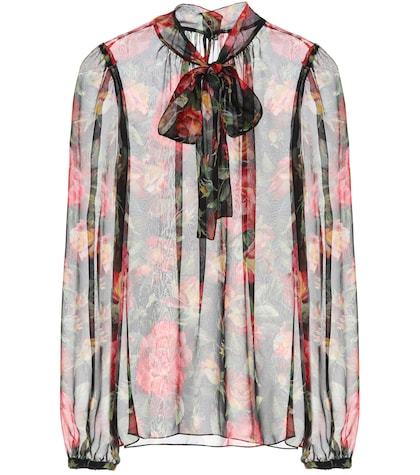 Printed silk pussy-bow blouse