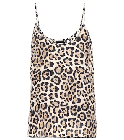 Leopard printed silk top