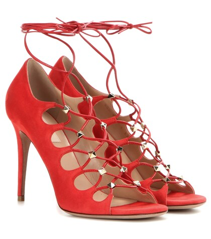 Rockstud Suede Lace-up Sandals
