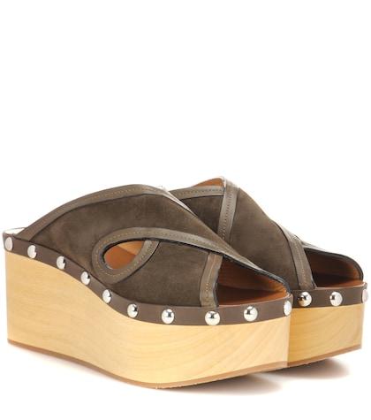 Zipla Suede And Wood Sandals