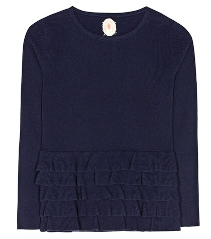 jardin des orangers female ruffled virgin wool and cashmere sweater