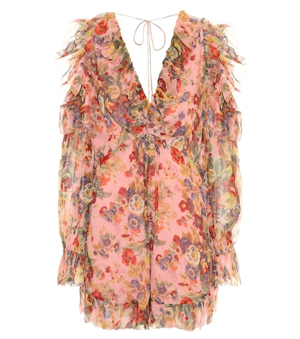 Lovelorn Frill silk playsuit