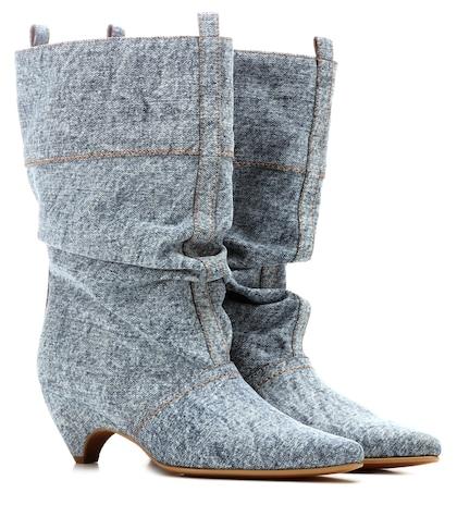 Slouchy denim boots