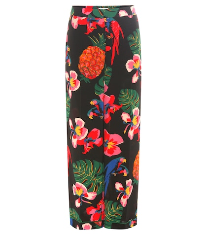 valentino female floralprinted silk trousers