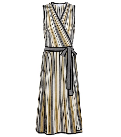 Cadenza metallic knitted wrap dress