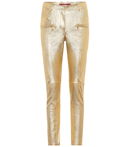 Brin metallic leather pants