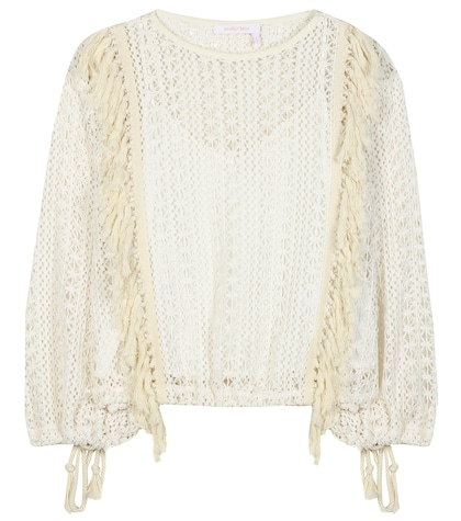 Tasselled crochet-knit top