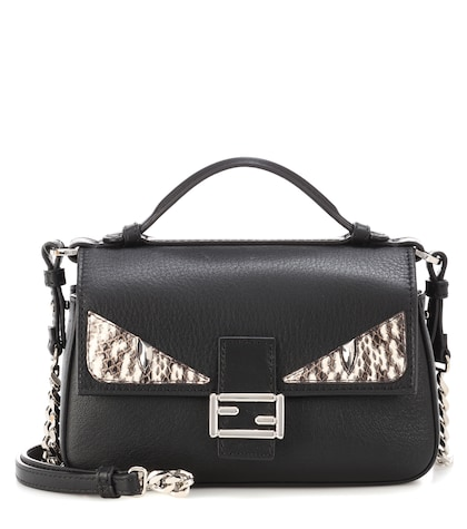 fendi female double micro baguette snakeskinembellished leather shoulder bag