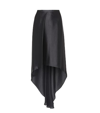 High-low satin skirt