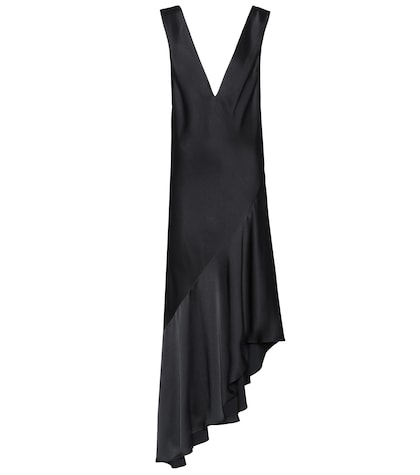 Asymmetric satin dress