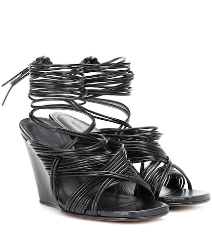 Tangle leather wedge sandals