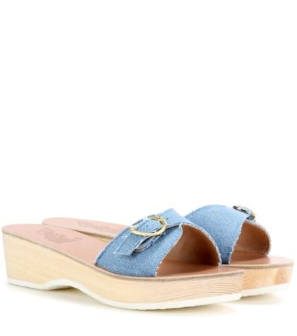 ancient greek sandals female filia sabot denim platform slipon sandals