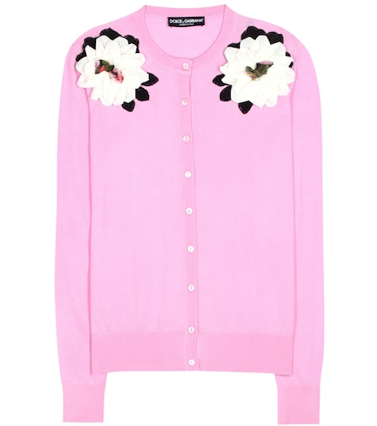 dolce gabbana female embellished cashmere and silk cardigan