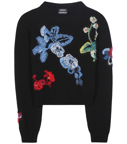 anthony vaccarello female 188971 embroidered wool and cashmere sweater
