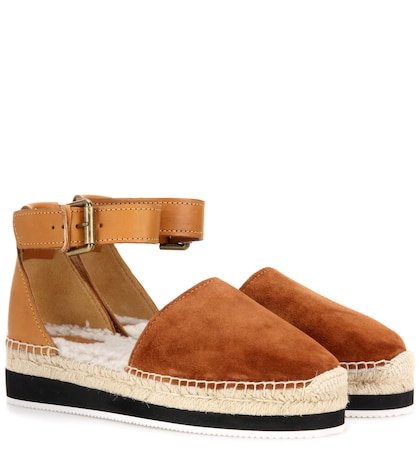 Fur-lined Suede And Leather Espadrilles