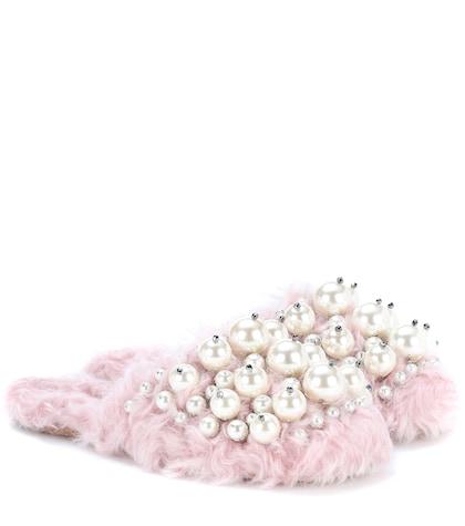 Embellished faux-fur slippers