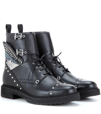 Photo of Embellished Leather Combat Boots Fendi online