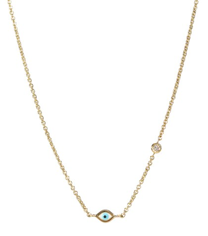 Mini Evil Eye 14kt Yellow Gold And White Diamond Necklace