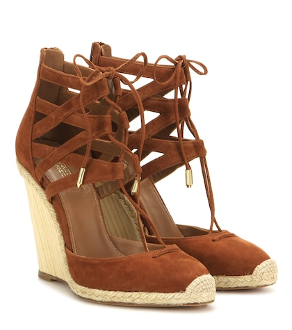 aquazzura female belgravia 110 suede wedge sandals