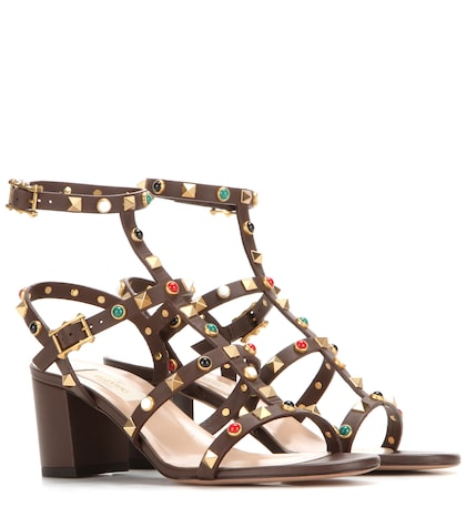 valentino female 211468 rockstud rolling leather sandals