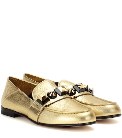 fendi female embellished leather loafers