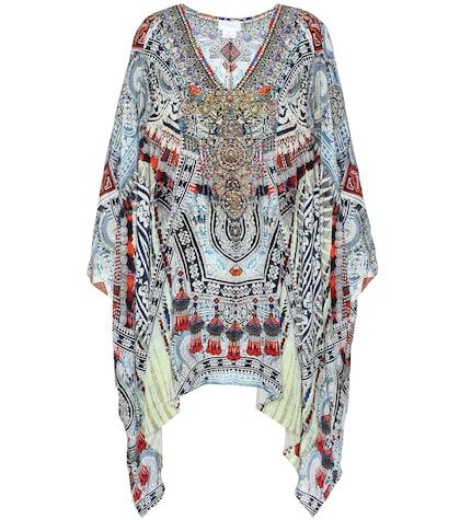 camilla female ebellished printed silk kaftan