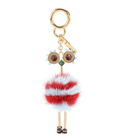 Fur-embellished bag charm
