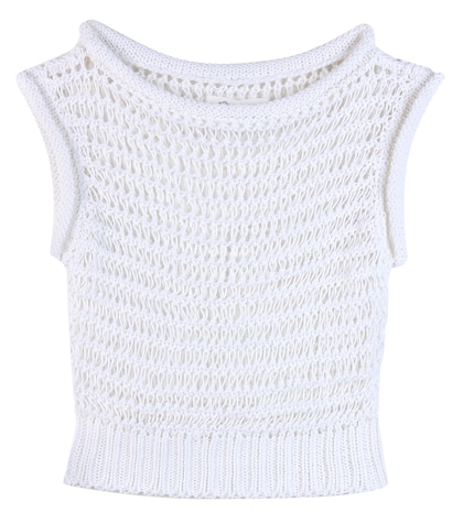 Crochet-knit cotton top