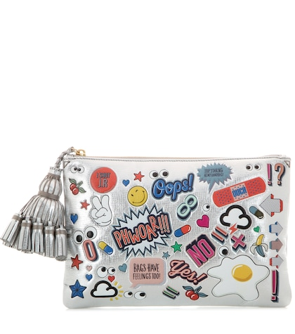 anya hindmarch female all over stickers georgiana metallic leather clutch