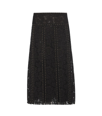 Embellished Pleated Lace Skirt