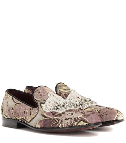 Embellished jacquard loafers
