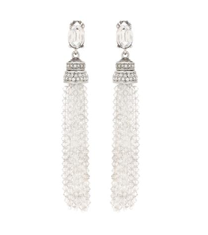Crystal tassel clip-on earrings