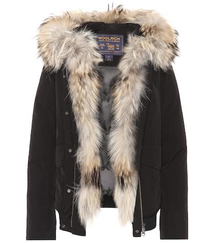 Military fur-trimmed coat