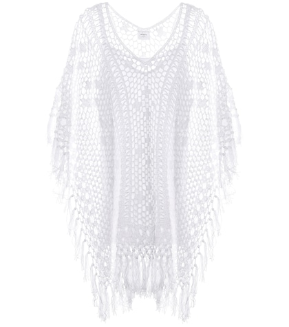 Tassel crocheted cotton poncho dress