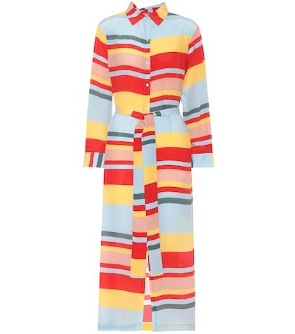 Robe en soie rayée