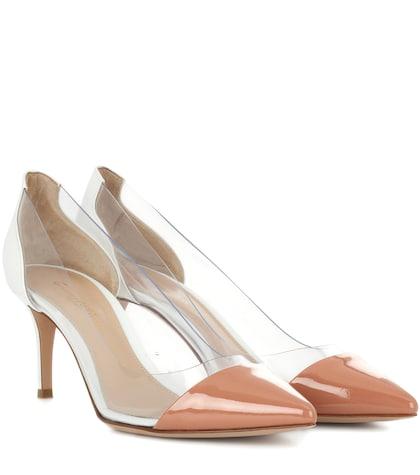 gianvito rossi female plexi 70 patent leather and transparent pumps