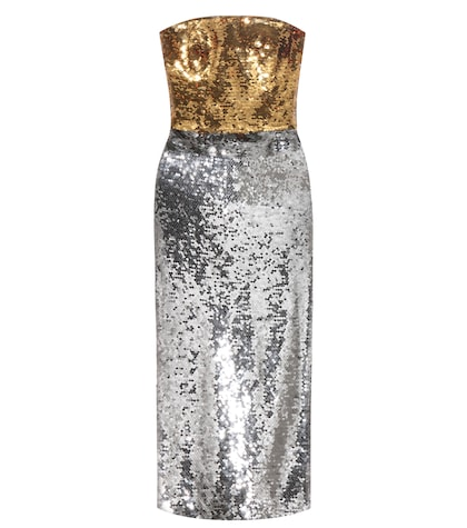 Strapless sequinned dress