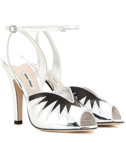 miu miu female 45900 metallic leather sandals